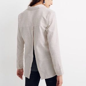 Madewell flannel button back striped shirt